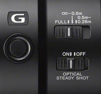 Focus Hold Button, Focus Range Limit Switch and OSS Switch on the Sony FE 90mm f/2.8 Macro G OSS lens