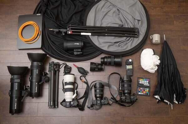 Tony Gale's Sony Alpha cameras and Sony lenses for corporate headshots