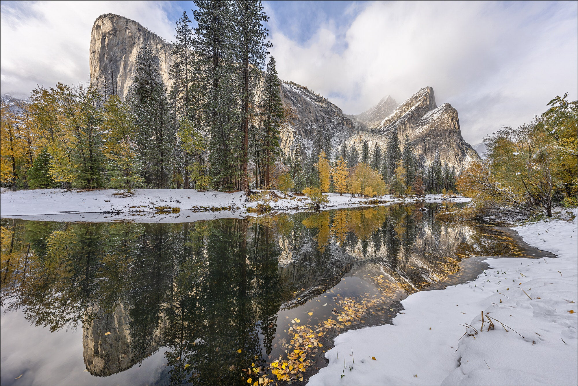 El Capitan Snowy Reflection - Photo by Gary Hart Snowfall in Yosemite with Sony 12-24mm f2.8 G Master Lens and A7R IV - Alpha Universe