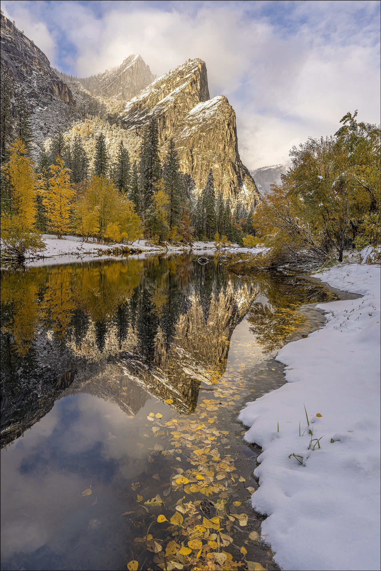 Yosemite Three Brothers - Photo by Gary Hart Snowfall in Yosemite with Sony 12-24mm f2.8 G Master Lens and A7R IV - Alpha Universe